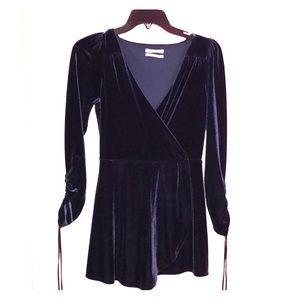 Urban Outfitters Blue Velvet Romper